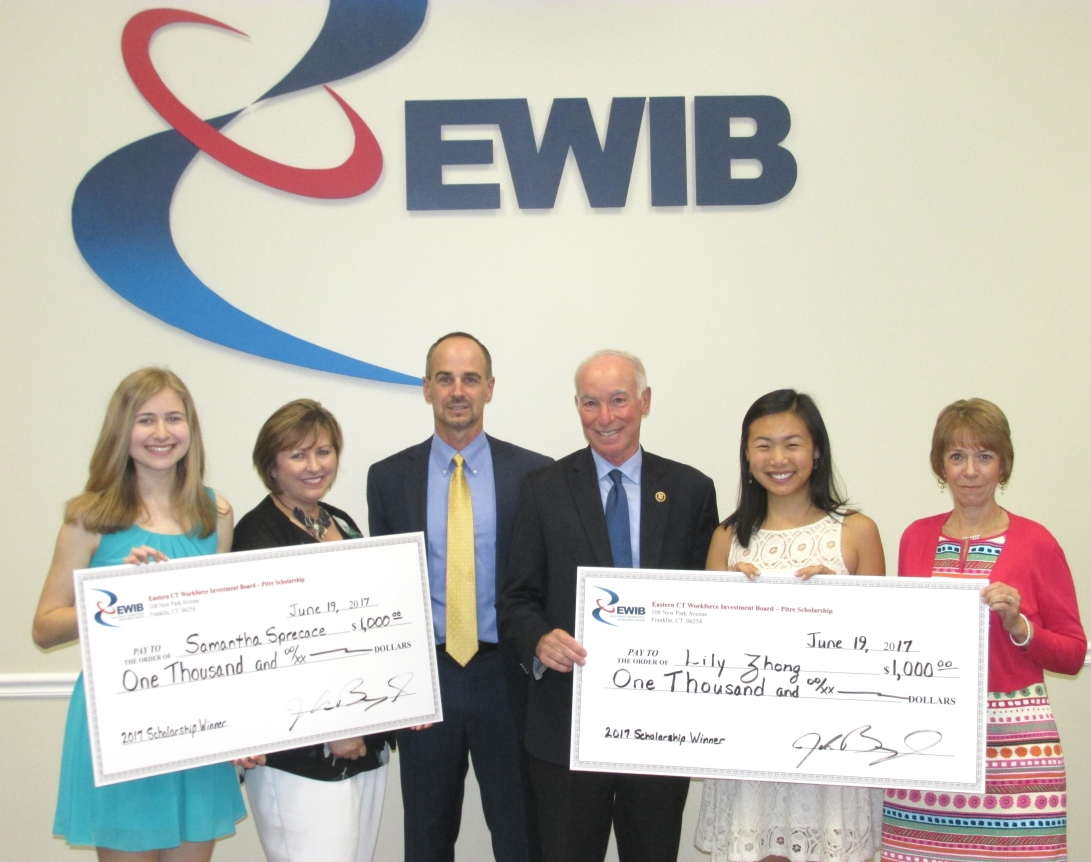 (L-R) Samantha Sprecace, Science & Tech Magnet HS of SE/CT; Armelde Pitre, Founder; John Beauregard, EWIB President; US Rep. Joe Courtney, CT 2nd District; Lily Zhong, East Lyme HS; Susan Hibbard, EWIB Chair. Kayla Mathiowetz, Waterford HS, not shown in picture.